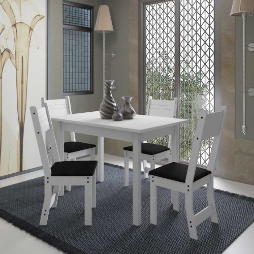 Conjunto de Mesa New Dallas Plus Indekes 1,10 Branco com Assento Preto