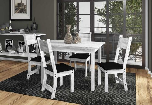 Conjunto de Mesa New Dallas Plus Indekes 1,10 Roble_Griz com Assento Preto